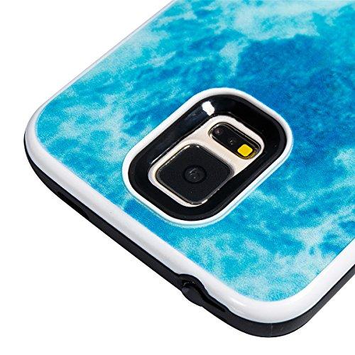 Étui en marbre Galaxy S5, Coque Galaxy S5,Lifetrut [Modèle de marbre] Pare-chocs Arrière Doux 2 en 1 Housse en Silicone en Caoutchouc TPU pour Samsung Galaxy S5[Rose] E204-Océan bleu