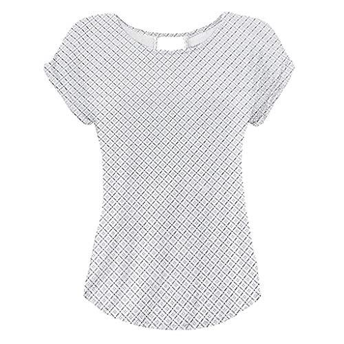 Yvelands Damen T-Shirt Rundhals Kurzarm Shirt mit Print Sommer Bluse Tops(Weiß1,S)