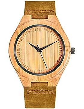 Mecan Herren Armbanduhr Holz Braun Calf Lederband Zifferblatt Holzuhr , Bambus-Quarz-Analog