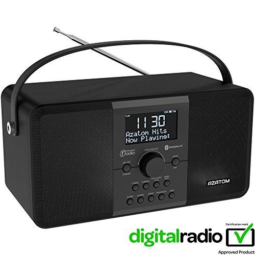 AZATOM Multiplex DAB Digital FM Radio Bluetooth Batterie Wecker - Bluetooth - Stereo Lautsprechersystem - Dual Alarm - Radiowecker - Wiederaufladbare Batterie - USB Lade - Premium Stereo Sound (Schwarze Asche)