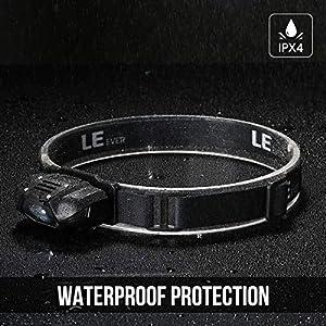 LE Frontal LED Super Ligero, 4 Modos de luz 100lm, Resistente al agua IPX4, Linterna Frontal para acampada, correr, caminata, casco