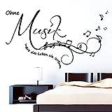 """Wandtattoo: Schriftzug """"Ohne Musik wäre das Leben ein Irrtum"""" - Zitat von Friedrich Nietzsche / Wandaufkleber / Wandsticker / 49 Farben / 3 Größen / schwarz / 80 x 142 cm"""