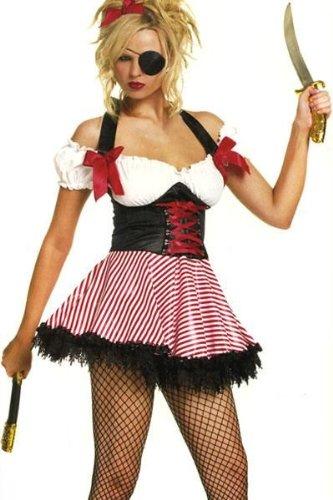 Leg Avenue 83088 - Pirate Wench Kostüm, Größe: L, weiß/rot/schwarz