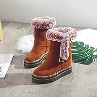 Botas Cortas de Ante Europeo Y Americano, Botas de Nieve, Grueso Cálido en el Medio Del Tubo para Aumentar Los Zapatos de Algodón,marrón,37