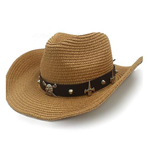 MADONG Schalenhut Sonnenhut Basthut Sommer Cowboyhut Damen Alltag Herren Ledergürtel Totenkopf Pirat Panamahut Punk Wind (Farbe : Kaffee, Größe : 58 cm)