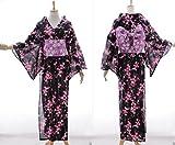 K-66 schwarz Sakura Blumen ORIGINAL Japan Damen Kimono YUKATA OBI Gürtel Baumwolle Kawaii-Story