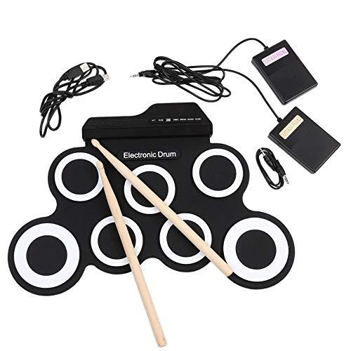 Tragbares elektronisches Schlagzeug E-Drum-Set, Roll Up Drum Practice Pad Midi-Drum-Kit mit Kopfhörer Jack Eingebauter Lautsprecher Drum Pedals Drum Sticks 10 Stunden Spielzeit, Great Holiday Geburtst