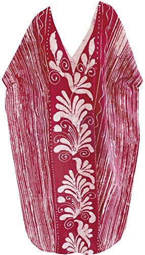 La Leela kimono beachwear maillots de bain maillot de bain en coton batik robe maxi long caftan des femmes Rouge