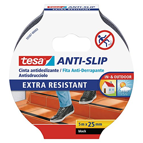 tesa Nastro Antiscivolo - Adesivo Antiscivolo per l'Uso Interno ed Esterno - Per Scale e Pavimenti Lisci - Nero - 5 m x 25 mm