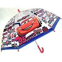 Chanos Cars Manual Dome Shape Poe Transparent Folding Umbrella, 45 cm, Blue and Red