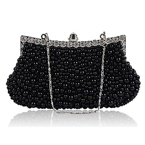 womens crystal peal diamond abendtasche party clutch hochzeit braut geldbörse. (23 x 14cm) black