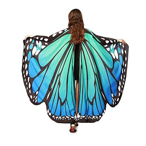 168cm * 135cm Farfalla Scialle Donna Ali Costume Sciarpa Grande Poncho Accessorio Carnevale Danza Spettacolo Blu e Verde