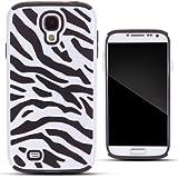 Zooky® negro silicona y plástico ZEBRA carcasa / funda / cover para Samsung Galaxy S4 (i9500)