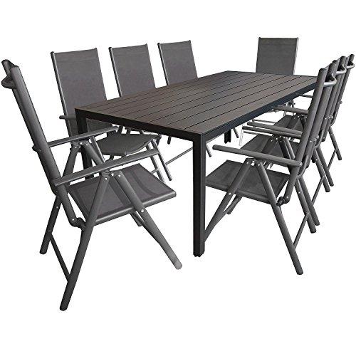 9tlg. Gartengarnitur, Aluminium Gartentisch mit Polywood-Tischplatte Schwarz 205x90cm + 8x Aluminium-Hochlehner mit 2x2 Textilenbespannung, 7-fach verstellbar, klappbar, anthrazit / Sitzgruppe Sitzgarnitur Gartenmöbel Terrassenmöbel
