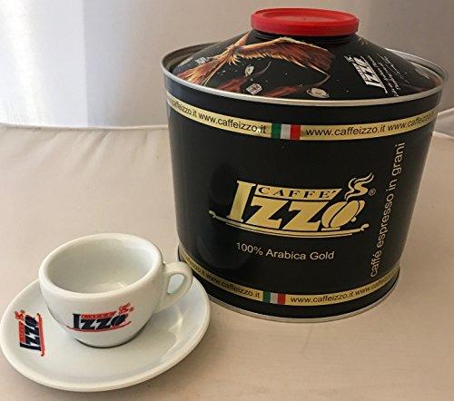 Izzo Espresso ganze Bohnen Gold, 100 % Arabica Caffè, 6 x 1000 g Dose inkl. 2 Izzo Espressotassen O/U