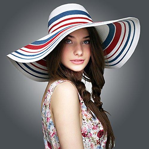 DMXY-Mesdames striped Beach chapeau de paille chapeau de paille holiday Sun Hat chapeau pare-soleil de l'été Blue and white striped
