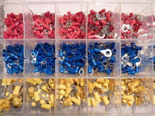 Preisvergleich Produktbild 650 Ring Kabelschuhe / Ringoese Sortiment rot / blau / gelb für Kabel von 0,5 mm² - 6 mm SK-DV