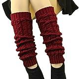 DDLBiz® 1 Paire Femmes Hiver Chaud Bas Guêtre-Jambière-Cuissard-Legging Chaussettes en Acrylique à Tricoter (Rouge2)