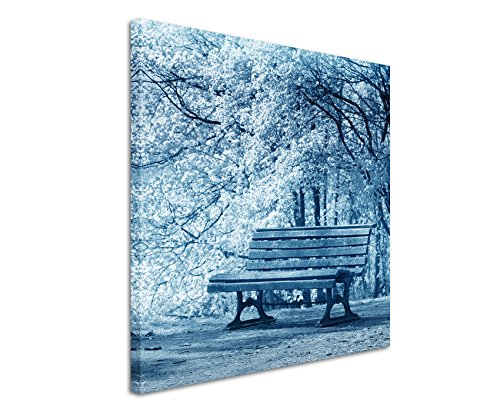 60-x-60-cm-murale-foto-tela-in-blu-fioritura-banca-fine-alberi