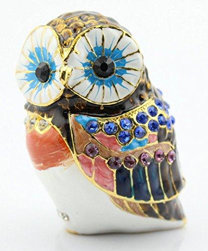 znewlook Birds Geschenke Schmuck Boxen Owl Treasure Box Figur Jewelry Halter 4.2*3.9*6 cm (L*W*H) Orange -