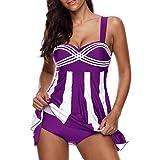 OverDose Damen 2PCS Streifen Drucken Sommer Übergröße Bikinis Tankini Swim Kleid Badeanzug Beachwear Gepolsterte Bademode Frauen Plus Size Beachwear Badeanzüge Bikini Set(Purple,EU36)