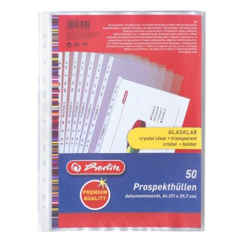 Preisvergleich Produktbild Herlitz 5850508 Prospekthülle Premium, A4 glasklar, 50er Packung