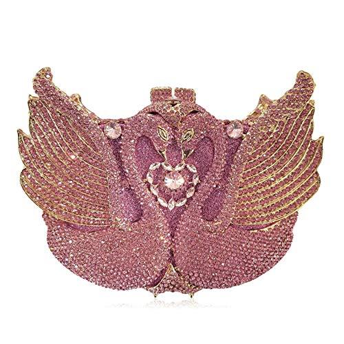 WYPT Damen-Holding-Beutel-Luxuxschwan-Kristalldiamant-Abendessen-Beutel-Art- und Weisediamant-verkrustetes Rosa