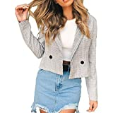 Damen Elegante Blazer Sakko MYMYG Einfarbig Slim Fit Vorne Offnung Tasche Tailliert Geschäft Büro Kurzjacke Jacke OL Mantel(Grau,EU:34/CN-S)