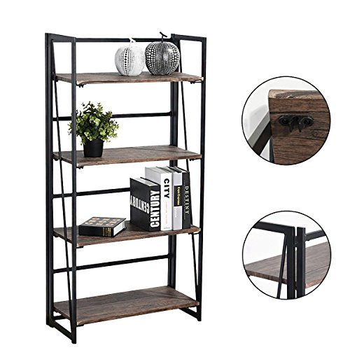 coavas 4-Tier-Bücherregal Regal-Speicher-Organisator No-Assembly Stabile faltbare rustikale Stand-Speicher-Regale - 23.6x11.6x49.2 Zoll 4 Regal Bücherregal Mdf
