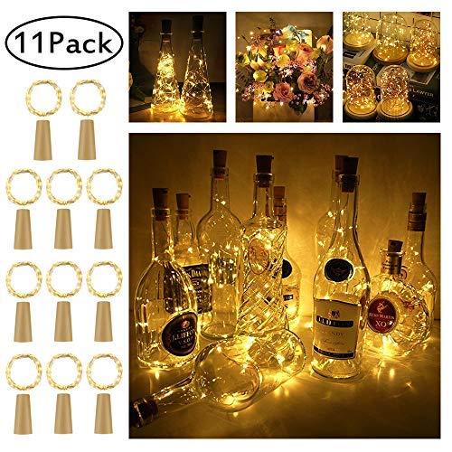 LED Flaschen-Licht,【11 Stück】20 LEDs 2M Kupferdraht Lichterkette Weinflasche Lichter mit Kork,LED Lichterketten Stimmungslichter Flasche DIY Deko für Party Weihnachten, Hochzeit oder Stimmung ()