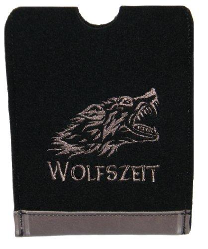 Hülle für ebook reader Filz und Leder, bestickt mit Wölfskopf; Wolfszeit Gerätehöhe bis ca. 17cm