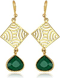 Spargz Green Color Synthetics Stone Gold Plating Dangle & Drop Hook Earrings For Women AIER 631