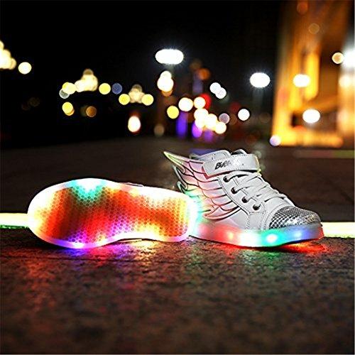 DoGeek Unisex Bambino Scarpe con Luci Scarpe LED Luminosi Sneakers con Luce nella Suola Bright Tennis Shoes USB 7 Colori Lampeggiante Trainners Bianco