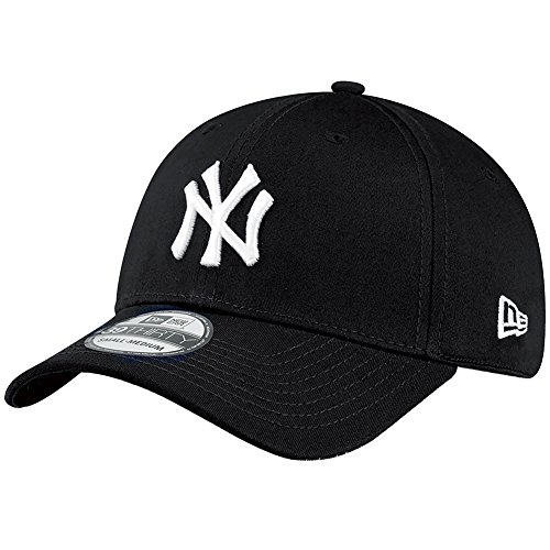 New Era Herren Baseball Cap Mütze M/LB Basic NY Yankees 39Thirty Stretch Back, Black/ White, L/XL, 10145638