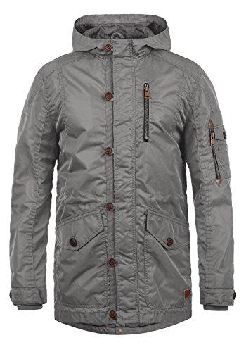 Blend Luxus Herren Übergangsparka Parka Mantel Lange Jacke Mit Kapuze, Größe:XL, Farbe:Granite (70147)