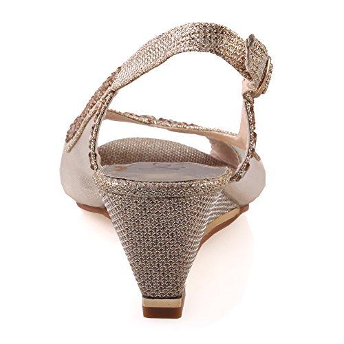 Unze Sandales de mariage des femmes de Shaheny ' Or