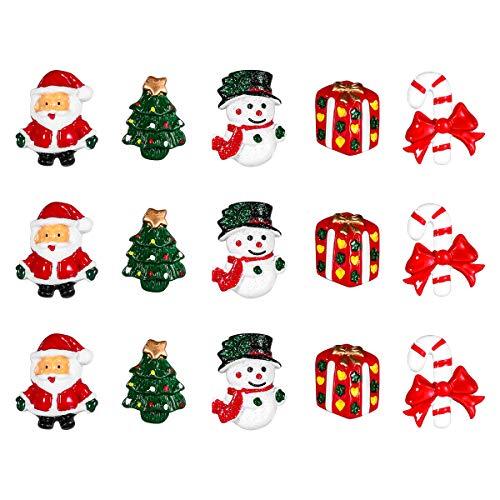 rosenice Weihnachtsschmuck Kunstharz Schneemann Santa Claus Weihnachtsbaum Zuckerstange Miniatur Ornaments Dekoration DIY Zubehör-15Teile