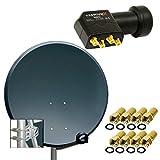 PremiumX Digital SAT Anlage 80 cm ALU Schüssel Spiegel Antenne