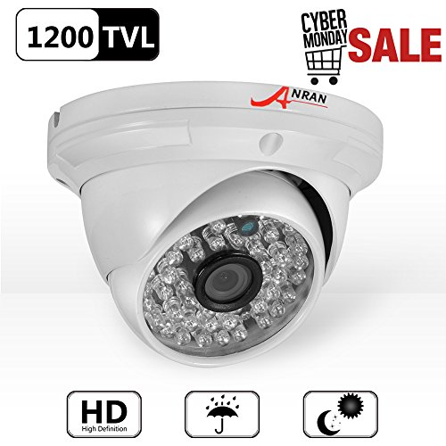 ANRAN 1200TVL Hochauflösende 48 IR LEDs Farbe Tag Nachtsicht Infrarot Sicherheit Wasserdicht Outdoor / Indoor Dome Überwachung CCTV-Kamera