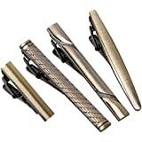 BMC 4pc Metal Alloy Mens Luxury Fashion Necktie Clips Bar Mix Variety Set