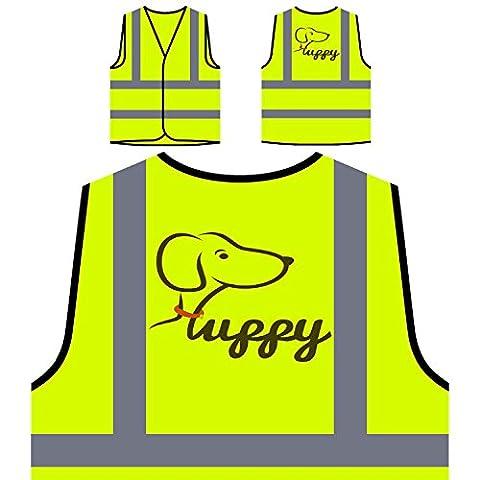 Glückliche Welpen niedliche Tiere Haustierliebhaber Personalisierte High Visibility Gelbe Sicherheitsjacke Weste o60v