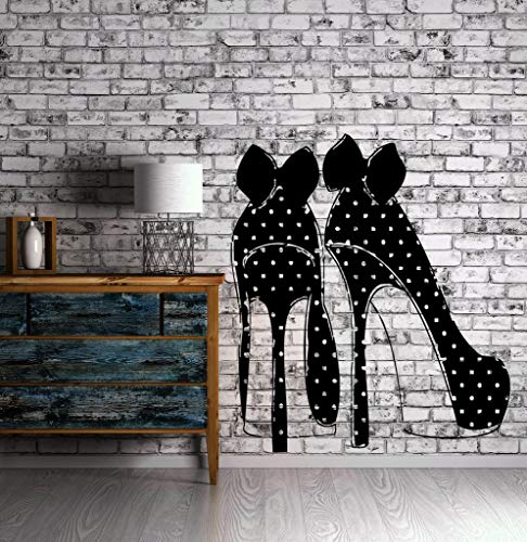 Ferse Mode Schuhe Wandaufkleber Tupfen Bögen Dekor Wandbild Vinyl Kunst Aufkleber Dekor Mädchen Zimmer Clockroom Wandbild57X89 cm -