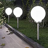 LED Garten Solarleuchte Solarlampe Gartenleuchte Solarkugel | wetterfest | mit Akku | kabellos | für den Außenbereich, Garten und Balkon (Ø 30cm)