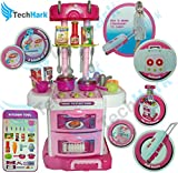 Techhark 3 in 1 Little Chef Kids Kitchen Play Set with Light & Sound Cooking Kitchen Set Play Toy (3 in 1 FBA)