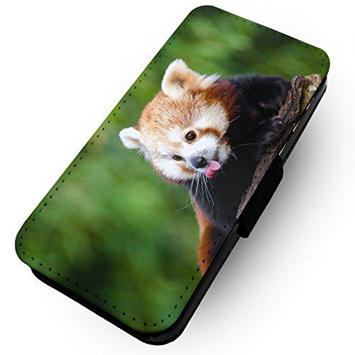 WTF | rot Panda Zunge | Kunstleder Flip-Telefon Fall |, Kunstleder, HTC One M8 (Htc M8 Flip-telefon Fall)