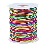 sunmns 1mm Elastic Cord Perlen Stretch Saite für Schmuck Armband machen, Rainbow 100m