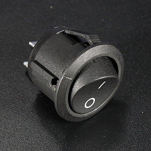 Bluelover 5Pcs Mini Runde Schwarz 2 Pin Spst On-Off Wippschalter Schalter