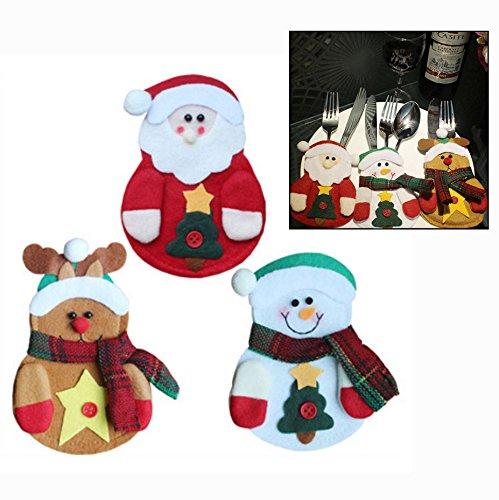OFKPO 3pcs Costume Porte-Couverts Décoration de Table Vaisselle en Noël Santa Elk Bonhomme de Neige Père du Noël Poche Coutellerie Accessoires Pour Couteau et Fourchette Cuillère