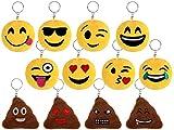 Schlüsselanhänger Emoji Lach Smiley Kissen 13 Designs 5cm (1)