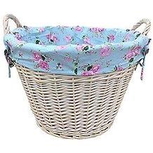 Cesto di vimini bianco Wash, Log/lavanderia con Cottage rose fodera–idea regalo